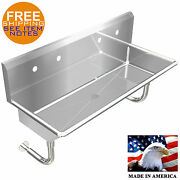 Industrial 2 Station, Multiuser Wash Up Hand Sink 48 Wall Mount Stainless Steel