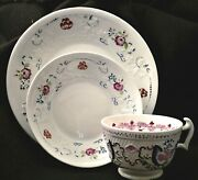 Cup, Saucer, 8 Plate, Staffordshire, Raised Lattice And Rose Basket, 8 D, 3pc,