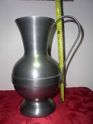 Huge 14 Antique West Germany Pewter Wine/water Pitcher Engraved Mark Nice