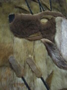 Hunting Dog Vintage North Russian Reindeer Fur Hand Made Picture / Wall Decor