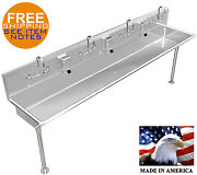 Wash Up Hand Sink 4 Users Multi-station 84=7and039 Stainless Steel Manual Faucets