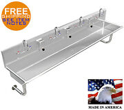 Multi Station 4 Wash-up Hand Sink Heavy Duty 14ga=0.0781 84l W/manual Faucets