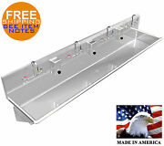Multi Station 4 Wash-up Hand Sink 84 Manual Faucets Lavatory Heavy Duty 14ga