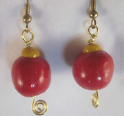 Christmas Ornament Earrings Red And Yellow Earrings Hand Crafted By Marie Usa 005