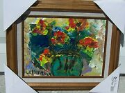 Listed Artist Charles Vavrina Acrylic On Board Old Carnival Glass Vase 9 X12