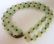 Fine Green Jade Bead Necklace A Grade Silver Clasp And Beads Circa 1920and039s-1930and039s
