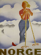 Lady Girl Skiing Ski Winter Sport Norway Norge Mountain Poster Repro Free S/h