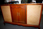 Vtg. Fisher 600 Stereo Tube Receiver Am/fm Radio Cabinet W/turntable And Speakers