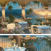 36wx24h Amalfi Holiday Ii By T.c. Chiu - Stunning Coast Scenery Florals Canvas