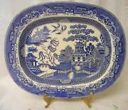 Antique Blue Willow Serving Platter Fantastic Blue And White Detail 19th Century