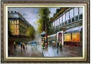 Framed Old Paris Street Quality Hand Painted Oil Painting 24x36in