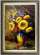 Framed Hand Painted Oil Painting Still Life W/ Mums And Other Flowers 24x36in