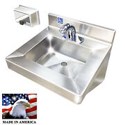 Ada Hand Sink Electronic Faucet Stainless Steel Push Horizontal Soap Dispenser