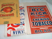 Vintage Lot Of 3 Chewing Tobacco Bags Big Kick Union Workman Peachey 7 Inches