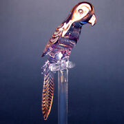 Parrot Macaw Figurine Of Hand Blown Glass Gold Crystal