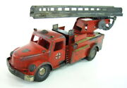 Rare German Tin Plastic Wind Up Toy Wh Fire Truck 809 Engine 1930and039s Germany