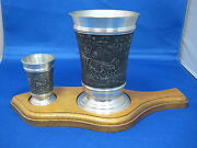 2 Antique German Embossed Pewter Cup And Shooter Engraved W/ Original Base Horse