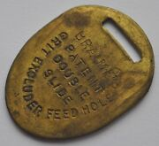 1900s Uk Britain Bronze Tag Feed Hole Grit Excluder Braimeand039s Patent Double Slide