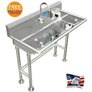Ada Hand Wash Sink 1 Station 40 Electronic Faucet Free Standing Stainless Steel