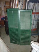 Pr Victorian Louvered Exterior House Window Shutters Green Paint 57 And 59 X 18w