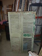 Pair Victorian Fixed Louvered House Window Shutters Light Green 61 X 16.5
