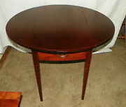 Solid Mahogany 2 Board Top Pencil Inlaid Wallace Nutting Dropleaf Table T216