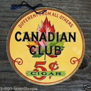 Original Canadian Club 5andcent Cigar Double Sided Hanging Cardboard Sign 1930s Nos
