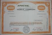 Specimen Stock Certificate 'vesely Co.' Apache Pop-up Camping / Camper Trailers