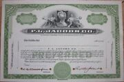 Specimen Stock Certificate And039f. L. Jacobs Co.and039-soda Vending Machines And Car Parts