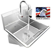 Hand Sink One User Stainless Steel 24 Electronic Faucet Wall Mount Made In Usa