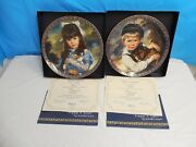 Rare Kitten And Puppy Vintage Retired Collector Plates Sandra Kuck Reco China