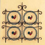 Lenox Suzanne Clee Morning Sunshine Rooster Dessert Plates-set 4 And Display Rack