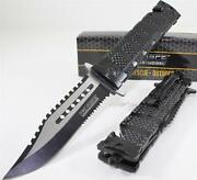 Tac-force Bowie Sawback Spring Open Assisted Tactical Rescue Pocket Knife