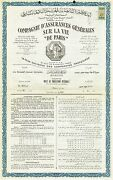 France General Life Insurance Company Of Paris Stock Certificate Egyptian Policy