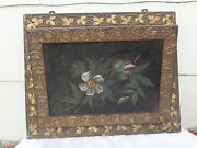Victorian Gold Gesso Wall Pocket With Floral Tin Decorations C.late 1800and039s
