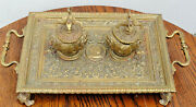 19th Century Renaissance Victorian Double Inkwell Gilt Brass Probably French