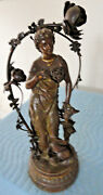 Antique Art Nouveau Bradley And Hubbard Spelter Newell Post Lamp Phyllis