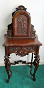 Antique Walnuttelephone Cabinet/drawercarved Cupids Of Legs C.1920s-30s Vgc