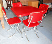 1950s-60s Cardgame Chrome/ Vinyl Table And Four Chairs Lee Industries Chicago