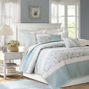 New Cozy Cottage Chic Light Blue Green White Shabby Country Soft Quilt Set