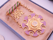 Antique 15 Year Odd Fellows Ioof Gold And Enamel Fraternal Badge Medal Pin And Case