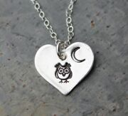 Night Owl Necklace - Handmade Small Fine Silver Heart Charm- Owl And Crescent Moon