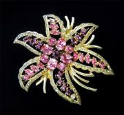 Collectible Eisenberg Sterling Silver Pink Crystals Huge Flower Brooch Rare