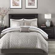 Beautiful Modern Contemporary Design Chic Silver Grey Comforter Set And Pillows