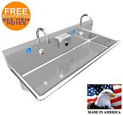 Ada 2 Station 48 Hand Wash Sink Electronic Faucet Hands Free. Made In America