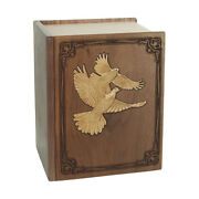 Wood Cremation Urn Wooden Urns - Walnut Book With Doves Companion