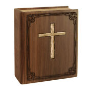 Wood Cremation Urn Wooden Urns - Walnut Book With Cross Companion