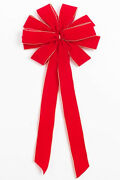 Christmas Red Outdoor Waterproof Ribbon Bow With Wired Gold Purl Edge