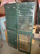 Pr Victorian Louvered House Window Shutters Old Green Paint 61.5 X 17 3/8