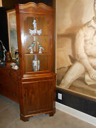 Chippendale Antique Style Mahogany Corner Cabinet W/ Glass Door ..great Size